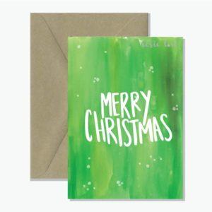 Merry Christmas Green Watercolour card