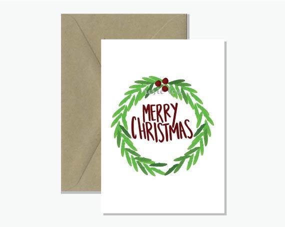 Merry Christmas Wreath Greeting Card Rosie Lou