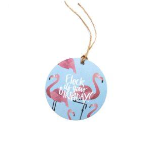Flock Flamingo Pun Gift Tag