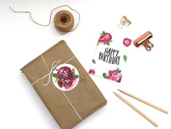 Happy Birthday Pink Flowers Tag + Card
