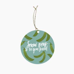 Snow Peas Pun Gift Tag with Seeds