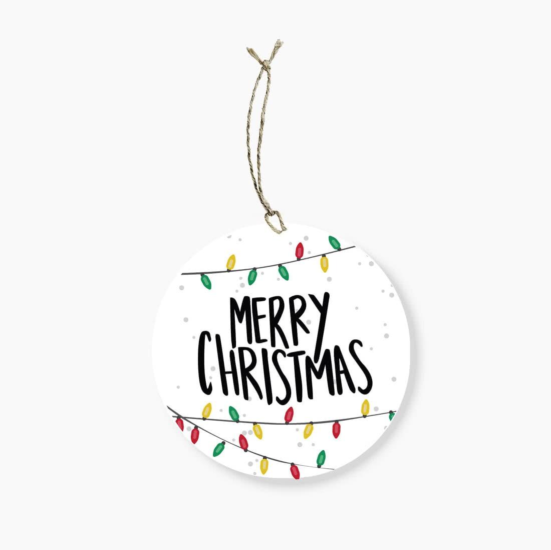 Merry Christmas Lights.Merry Christmas Lights Round Gift Tag